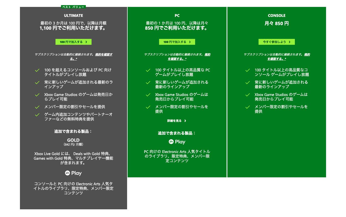 Xbox Game Pass 料金